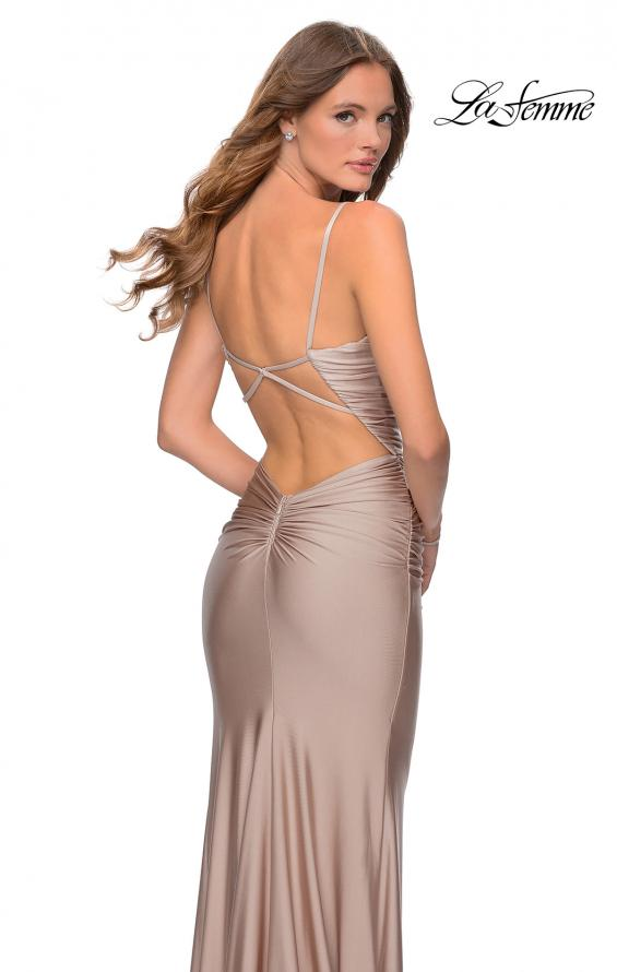 Picture of: Long Ruched Jersey Prom Dress with Thin Straps in Nude, Style: 28398, Detail Picture 2