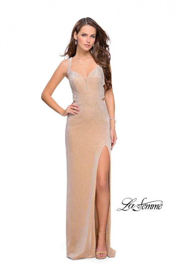 Picture of: Velvet Prom Dress Covered in Rhinestones with Side Cut Outs, Style: 25266, Detail Picture 3