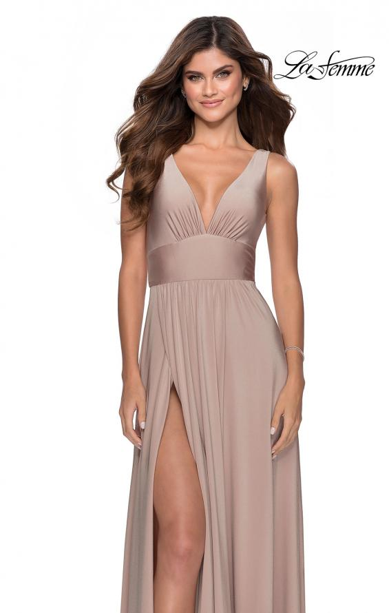Picture of: Empire Waist Prom Gown with Deep V Neckline in Nude, Style: 28547, Detail Picture 3
