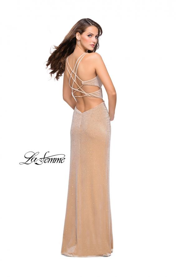 Picture of: Velvet Prom Dress Covered in Rhinestones with Side Cut Outs, Style: 25266, Detail Picture 4