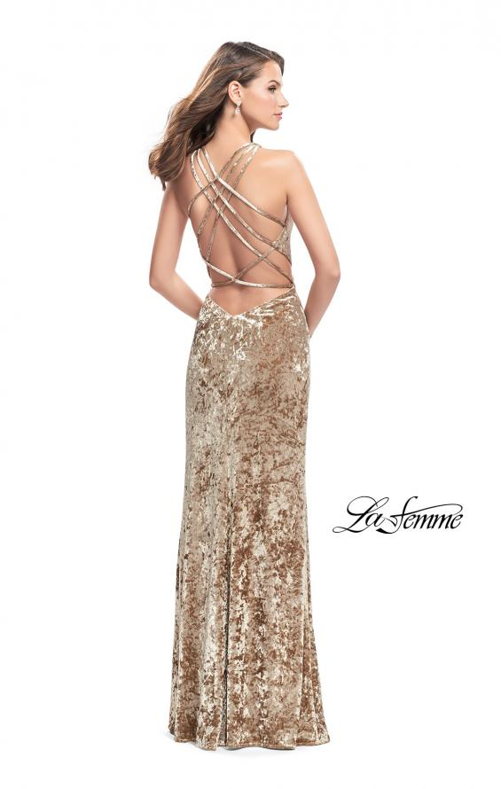 Picture of: Crushed Velvet Prom Dress with High Neckline and Leg Slit in Nude, Style: 25734, Detail Picture 2