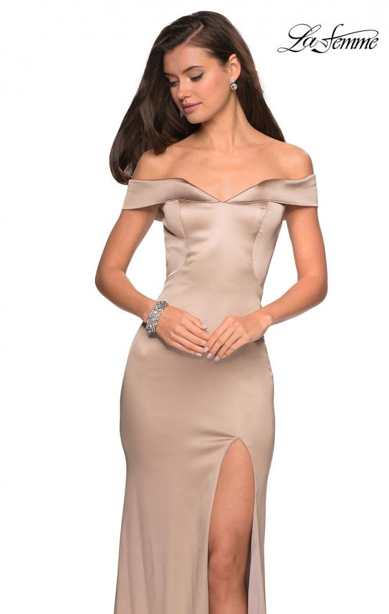 Picture of: Form Fitting Off the Shoulder Satin Prom Dress in Nude, Style: 27752, Detail Picture 5