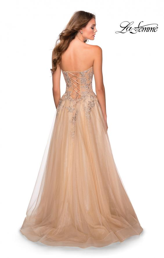 Picture of: Strapless Tulle Dress with Cascading Floral Detail in Nude, Style: 28599, Detail Picture 5