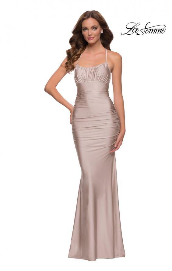 Picture of: On Trend Jersey Long Dress with Ruching on Bodice in Nude, Style 29873, Detail Picture 5
