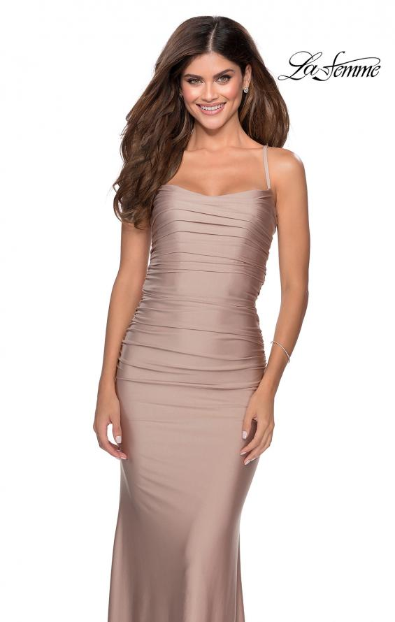 Picture of: Long Ruched Jersey Prom Dress with Thin Straps in Nude, Style: 28398, Detail Picture 6