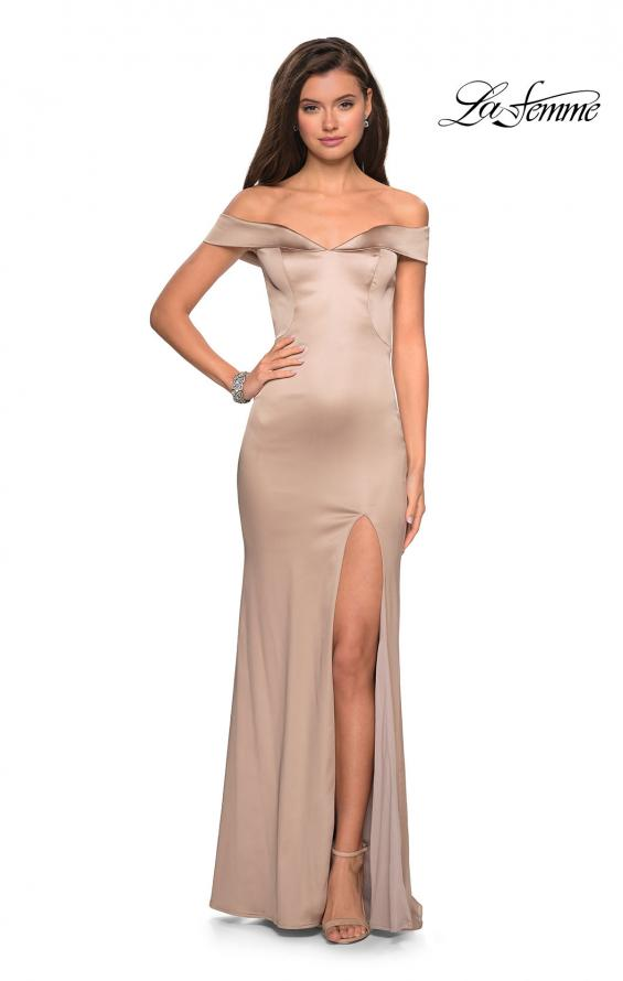 Picture of: Form Fitting Off the Shoulder Satin Prom Dress in Nude, Style: 27752, Detail Picture 7