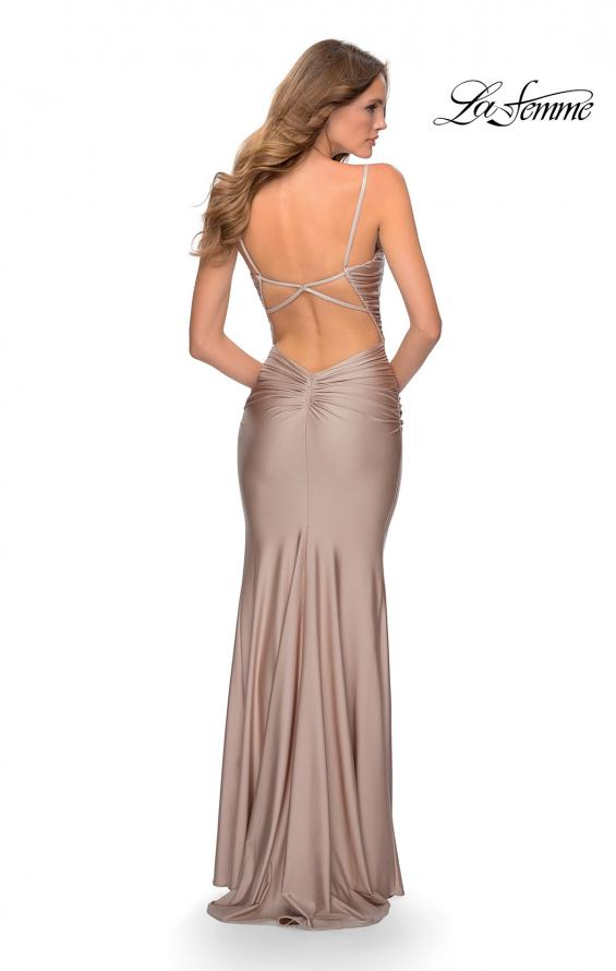 Picture of: Long Ruched Jersey Prom Dress with Thin Straps in Nude, Style: 28398, Detail Picture 7