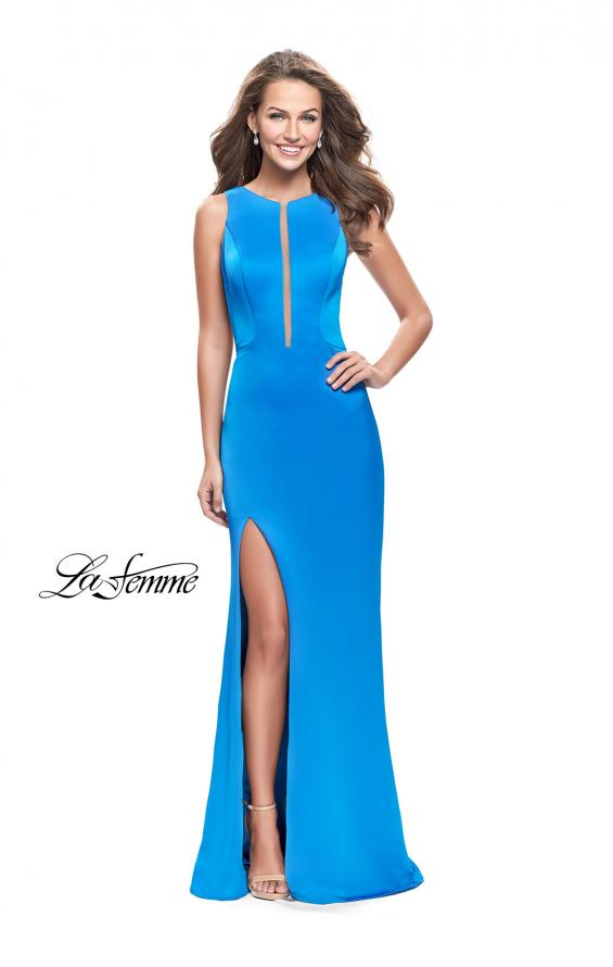 Picture of: Long Satin prom Dress with Plunging Neckline and Slit in Ocean Blue, Style: 26235, Main Picture