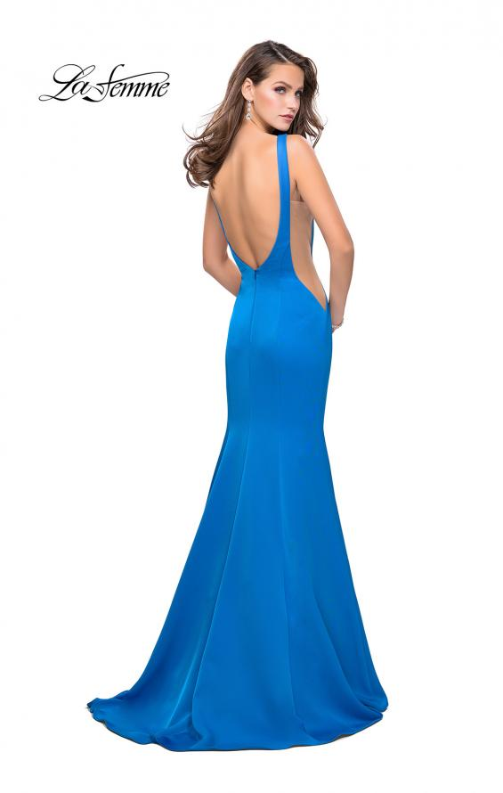 Picture of: Satin Mermaid Prom Gown with Mesh and Scoop Back, Style: 26076, Back Picture