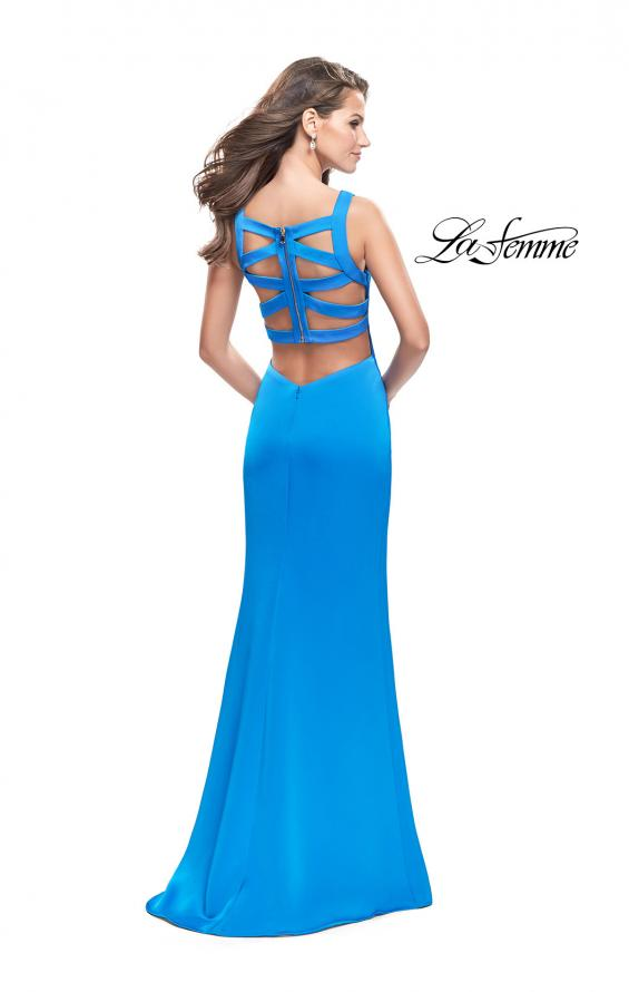 Picture of: Long Satin prom Dress with Plunging Neckline and Slit in Ocean Blue, Style: 26235, Detail Picture 3