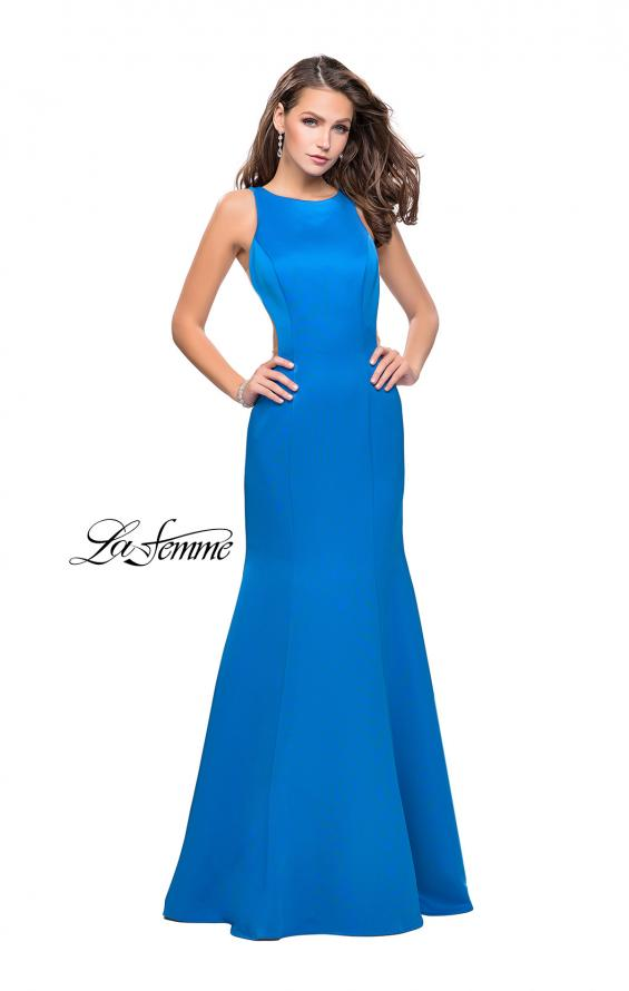 Picture of: Satin Mermaid Prom Gown with Mesh and Scoop Back, Style: 26076, Detail Picture 4