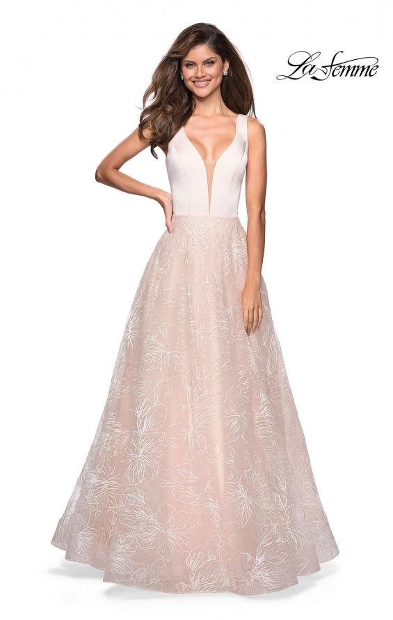 Picture of: Elegant Ball Gown With Floral Printed Skirt and Pockets in Pale Pink, Style: 27325, Main Picture