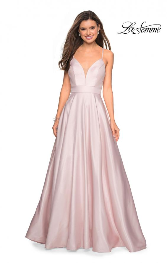 Picture of: Simple A-Line Long Prom Dress with Pockets in Pale Pink, Style: 27823, Main Picture