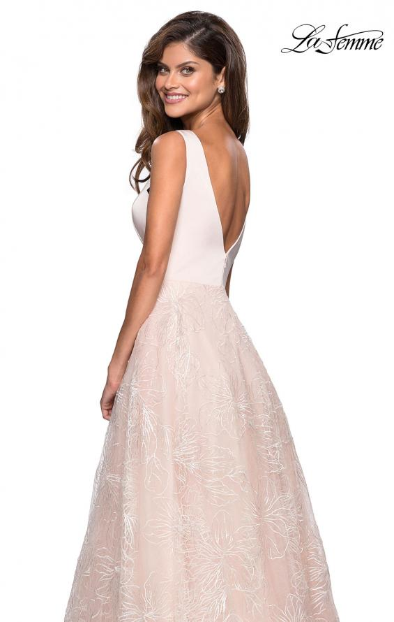 Picture of: Elegant Ball Gown With Floral Printed Skirt and Pockets in Pale Pink, Style: 27325