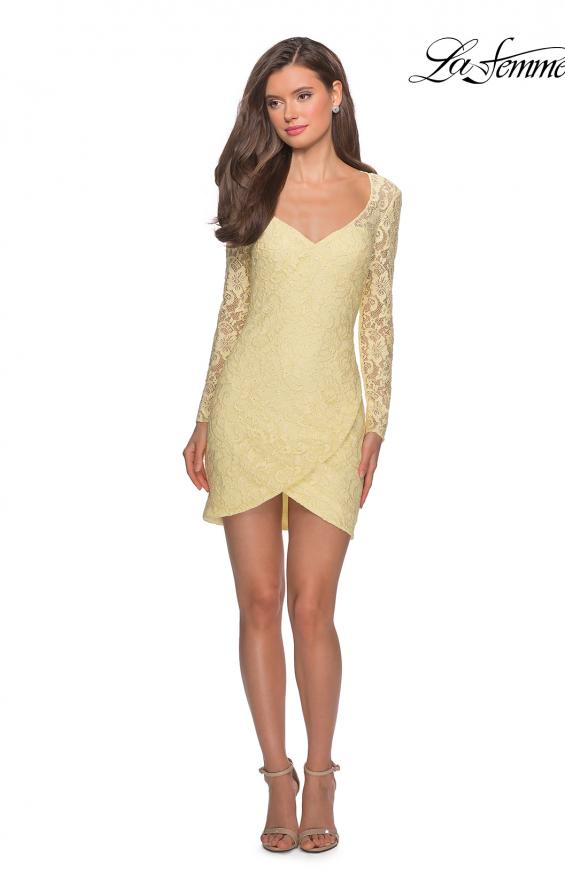 Picture of: Long Sleeve Lace Short Dress with Sheer Back Detail in Pale Yellow, Style: 28232, Detail Picture 10