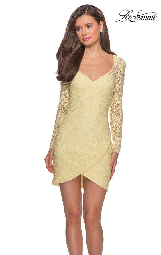 Picture of: Long Sleeve Lace Short Dress with Sheer Back Detail in Pale Yellow, Style: 28232, Detail Picture 3