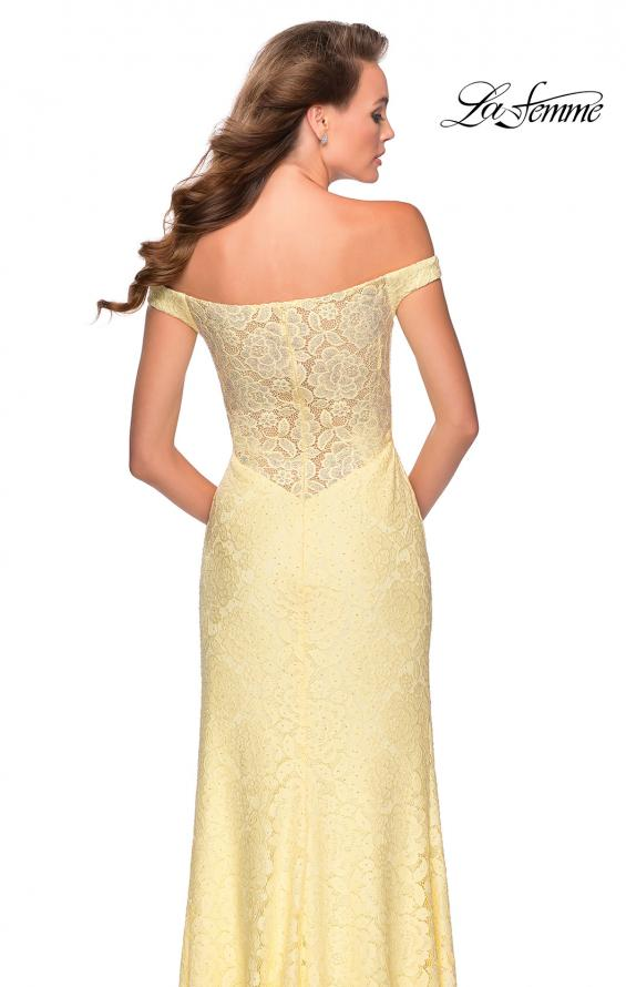 Picture of: Beaded Lace Prom Dress with Off the Shoulder Detail in Pale Yellow, Style: 28301, Main Picture