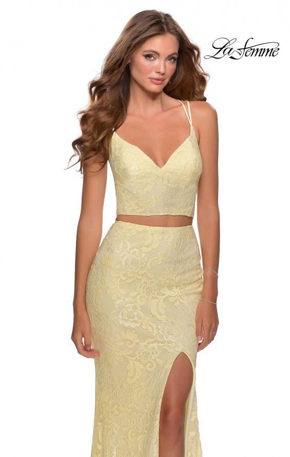 Picture of: Two Piece Lace Dress with Sheer Top and Rhinestones in Pale Yellow, Style: 28590, Main Picture