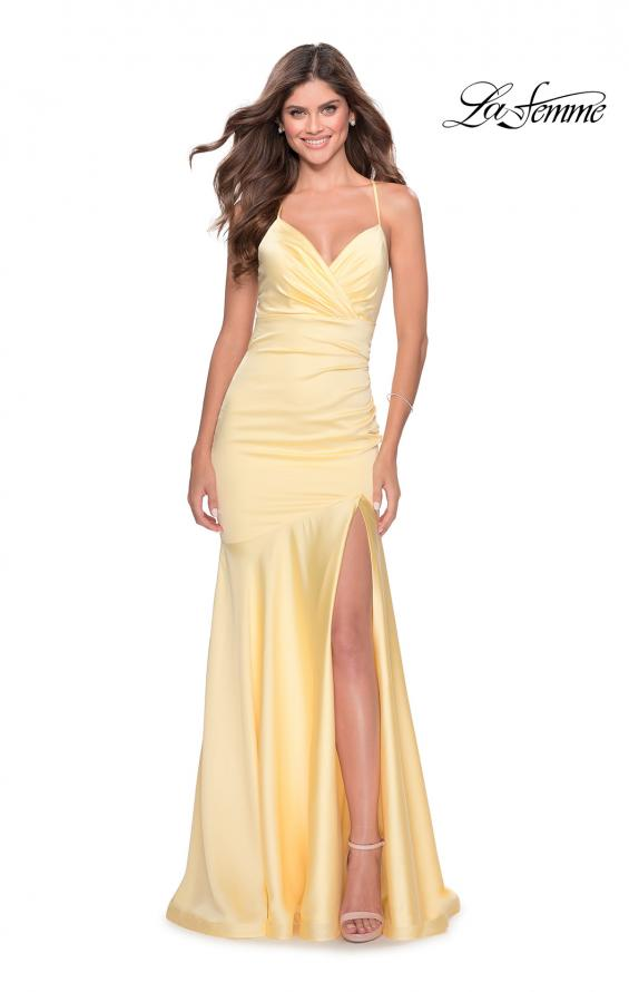 Picture of: Prom Dress with Ruching and Sweetheart Neckline in Pale Yellow, Style: 28720, Main Picture