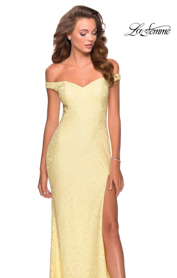 Picture of: Beaded Lace Prom Dress with Off the Shoulder Detail in Pale Yellow, Style: 28301, Detail Picture 8