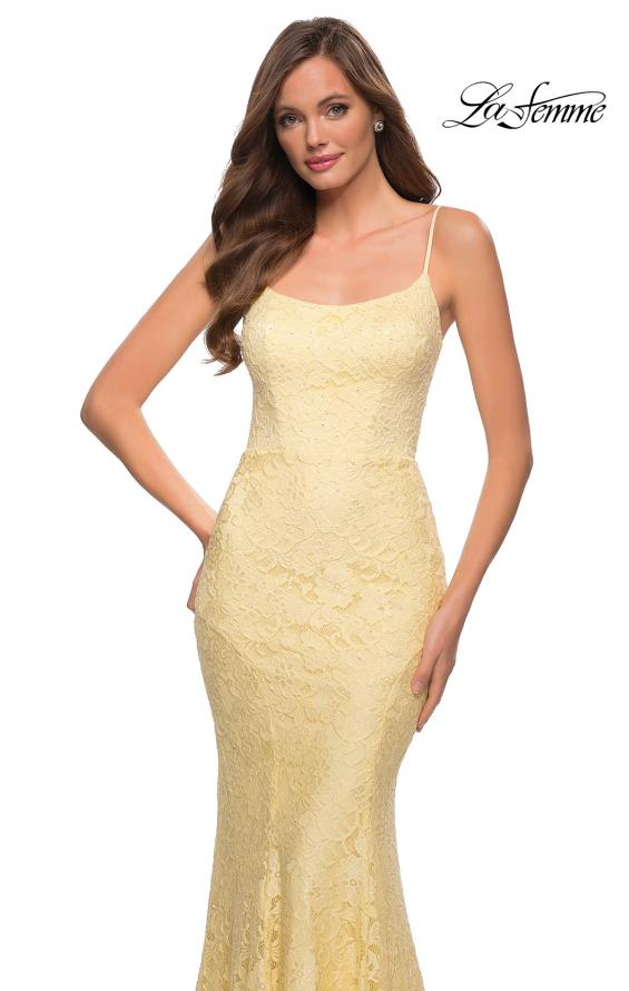 Picture of: Stretch Lace Gown with Lace Up Strappy Back in Pale Yellow, Style 29611, Detail Picture 8