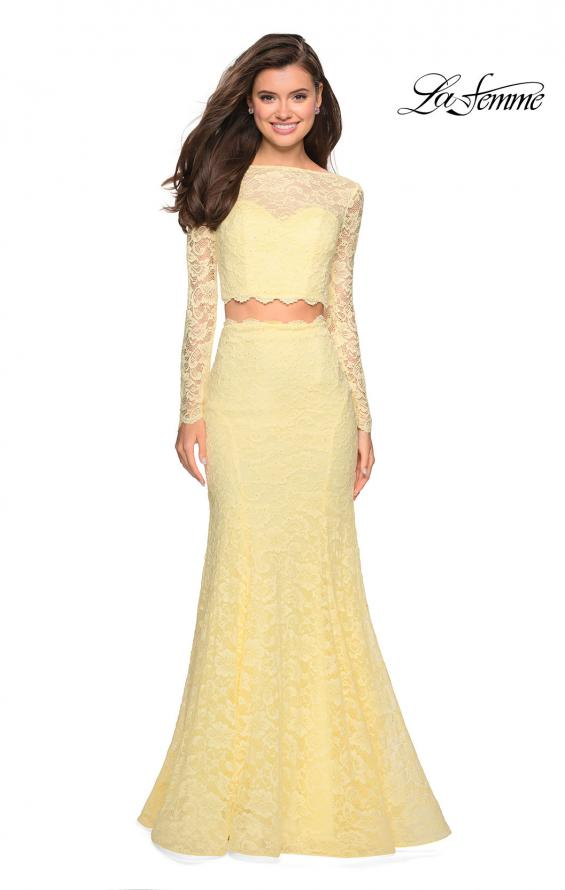 Picture of: Stretch Lace Long Sleeve Two Piece Prom Dress, Style: 27601, Detail Picture 9
