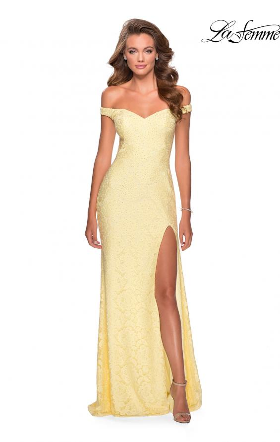 Picture of: Beaded Lace Prom Dress with Off the Shoulder Detail in Pale Yellow, Style: 28301, Back Picture