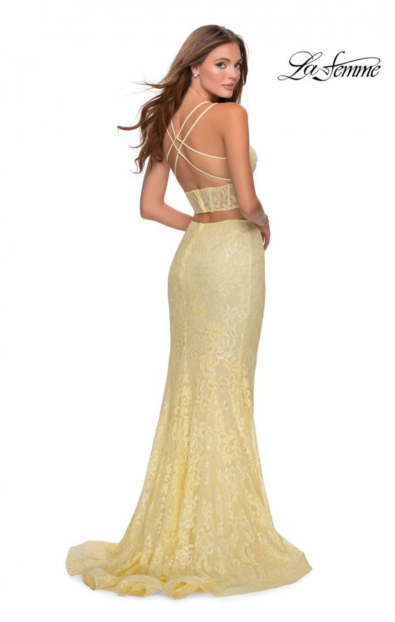Picture of: Two Piece Lace Dress with Sheer Top and Rhinestones in Pale Yellow, Style: 28590, Back Picture
