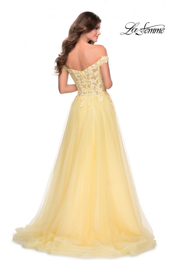 Picture of: Off the Shoulder Tulle Gown with Sheer Floral Bodice in Pale Yellow, Style: 28598, Back Picture