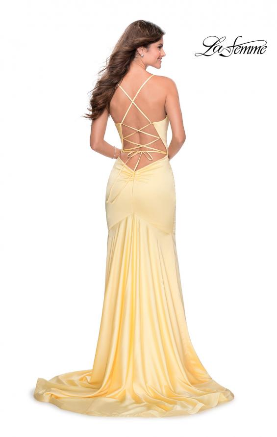 Picture of: Prom Dress with Ruching and Sweetheart Neckline in Pale Yellow, Style: 28720, Back Picture