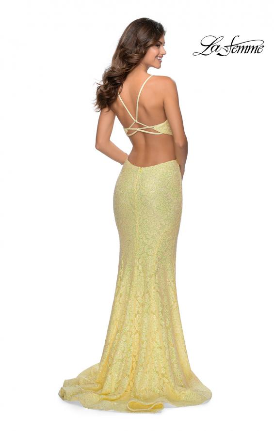 Picture of: Lace Stretch Sequin Dress with Side Cut Outs in Pale Yellow, Style: 28983, Back Picture
