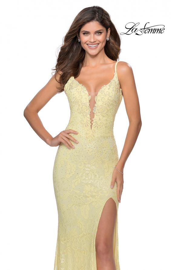 Picture of: Lace Prom Dress with Deep V-Neck and Rhinestones in Pale Yellow, Style: 28556, Detail Picture 1