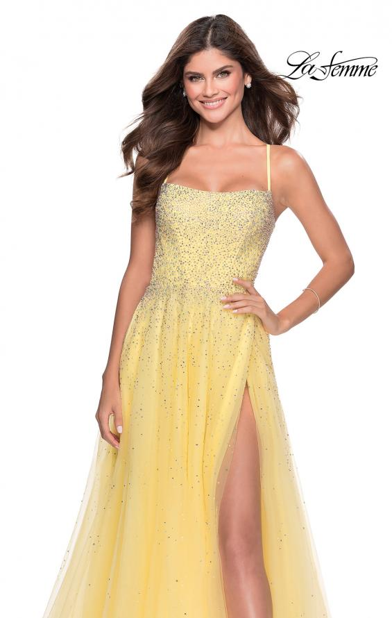 Picture of: A-line Tulle Dress with Beaded Bodice and Pockets in Pale Yellow, Style: 28583, Detail Picture 1