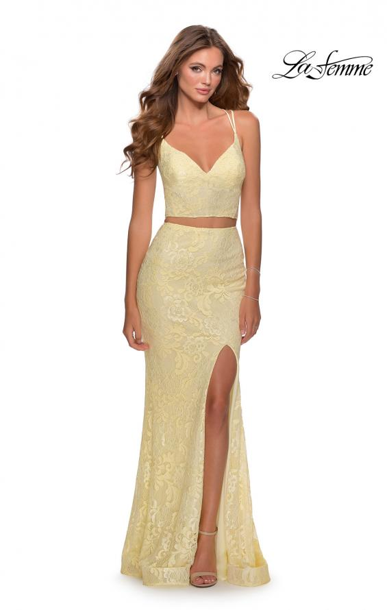 Picture of: Two Piece Lace Dress with Sheer Top and Rhinestones in Pale Yellow, Style: 28590, Detail Picture 1