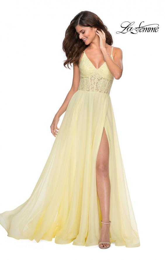 Picture of: Chiffon Prom Dress with Sheer Floral Lace Bodice in Pale Yellow, Style: 28664, Detail Picture 1