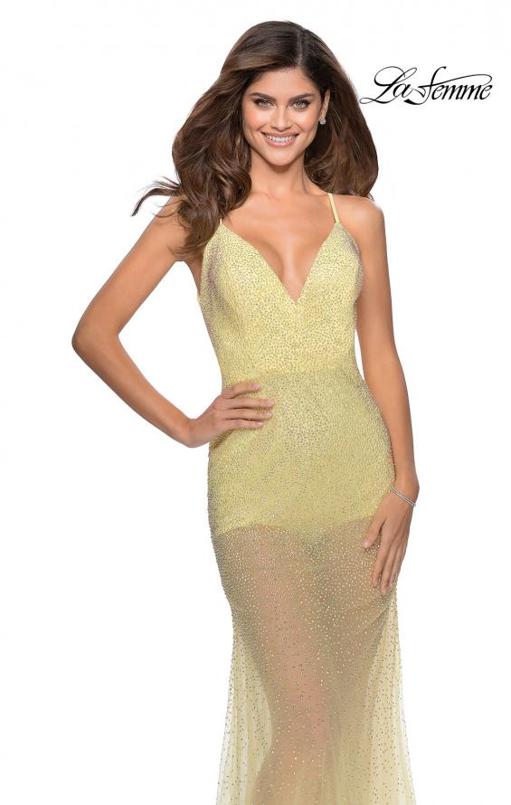 Picture of: Sheer Tulle Rhinestone Dress with Attached Shorts in Pale Yellow, Style: 28806, Detail Picture 1