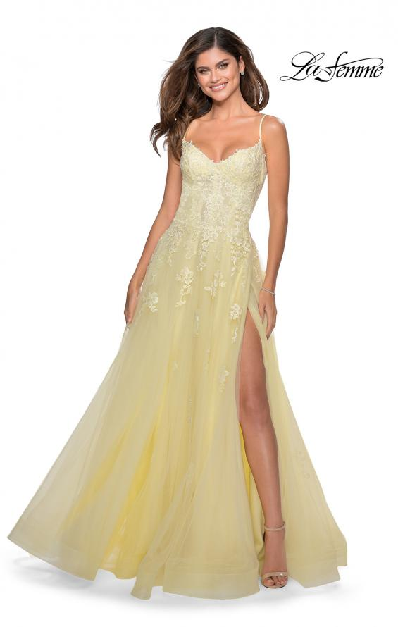 Picture of: Floral Lace Tulle A-line Gown with Side Leg Slit in Pale Yellow, Style: 28952, Detail Picture 1