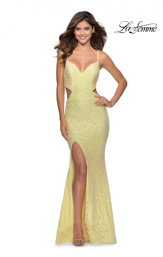Picture of: Lace Stretch Sequin Dress with Side Cut Outs in Pale Yellow, Style: 28983, Detail Picture 1