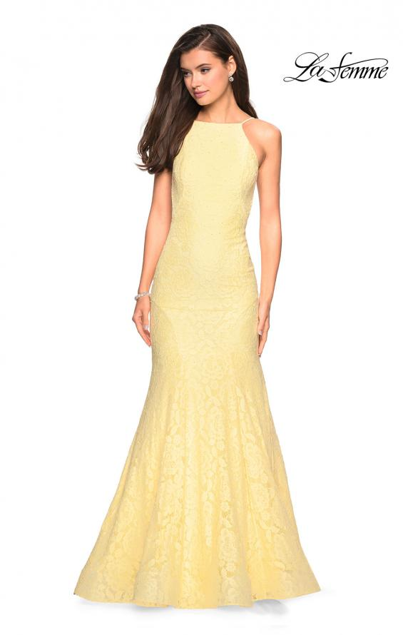 Picture of: Long Lace Prom Dress with High Neckline in Pale Yellow, Style: 27289