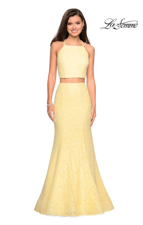 Picture of: Two Piece Stretch Lace Prom Dress with Strappy Back in Pale Yellow, Style: 27452, Detail Picture 2