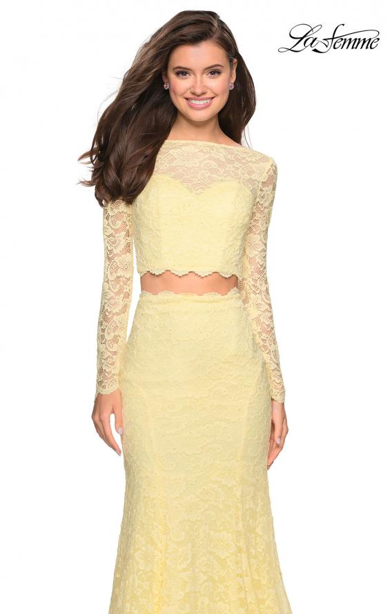 Picture of: Stretch Lace Long Sleeve Two Piece Prom Dress, Style: 27601, Detail Picture 2