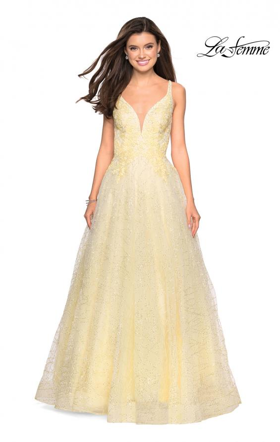 Picture of: A-Line Tulle Ball Gown with Strappy Open Back in Pale Yellow, Style: 27719, Detail Picture 2
