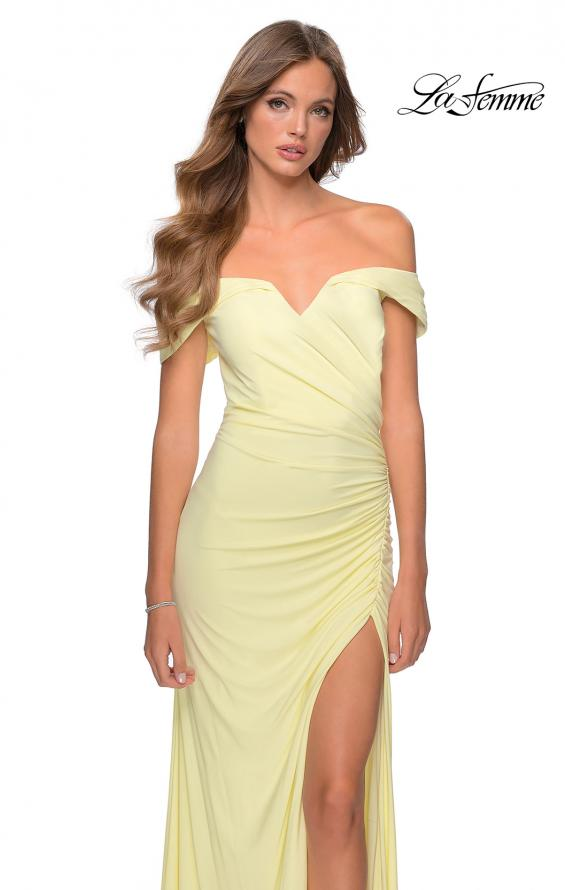 Picture of: Off the Shoulder Fully Ruched Floor Length Gown in Pale Yellow, Style: 28389, Detail Picture 2