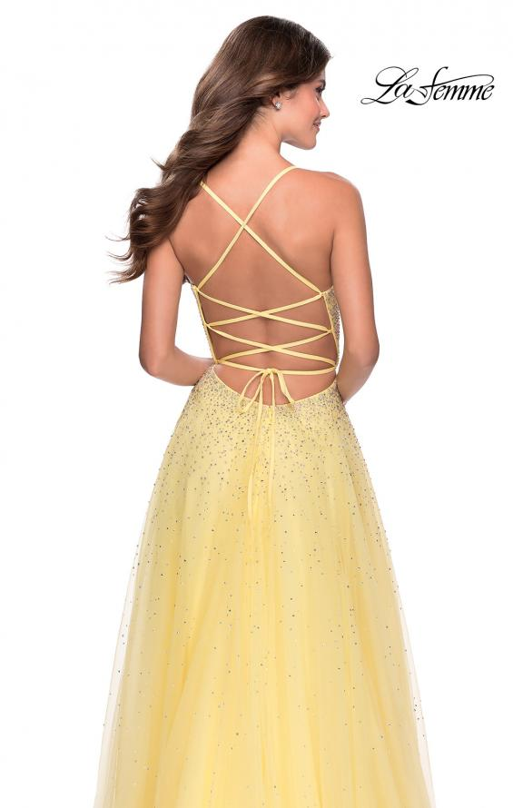 Picture of: A-line Tulle Dress with Beaded Bodice and Pockets in Pale Yellow, Style: 28583, Detail Picture 2