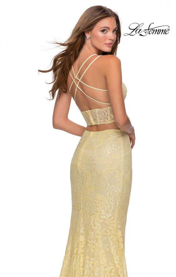 Picture of: Two Piece Lace Dress with Sheer Top and Rhinestones in Pale Yellow, Style: 28590, Detail Picture 2