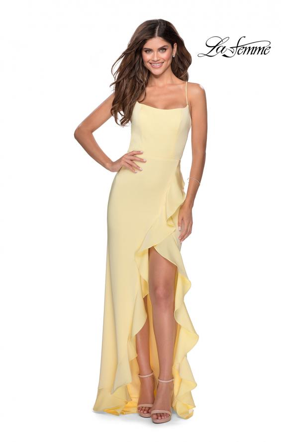 Picture of: Ruffle Prom Dress with Scoop Neck and Lace Up Back in Pale Yellow, Style: 28294, Detail Picture 3