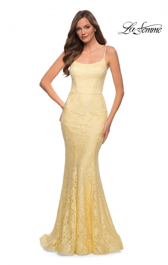 Picture of: Stretch Lace Gown with Lace Up Strappy Back in Pale Yellow, Style 29611, Detail Picture 3