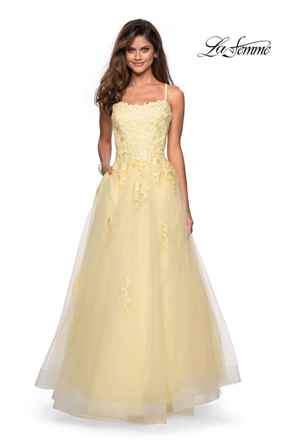 Picture of: Floor Length Tulle Ball Gown with Lace Accents, Style: 27441, Detail Picture 4
