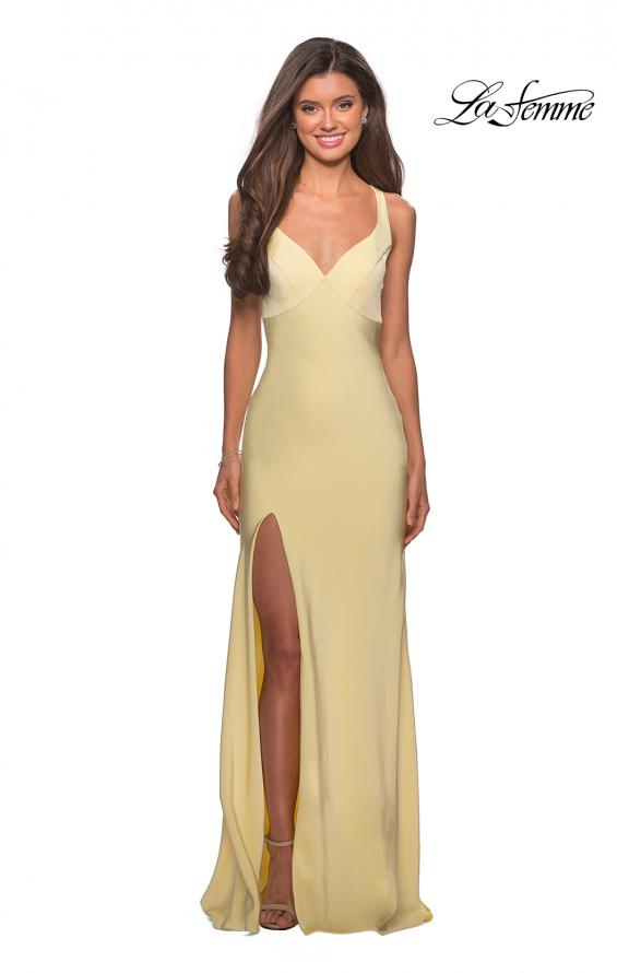 Picture of: Classic Form Fitting Jersey Floor Length Prom Dress in Pale Yellow, Style: 27581, Detail Picture 4