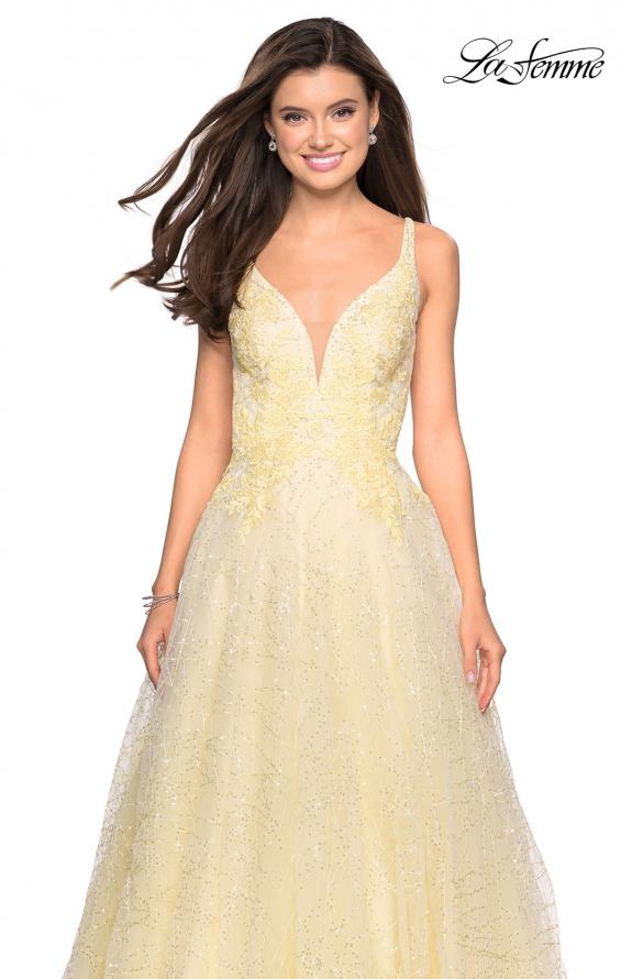 Picture of: A-Line Tulle Ball Gown with Strappy Open Back in Pale Yello, Style: 27719, Detail Picture 4